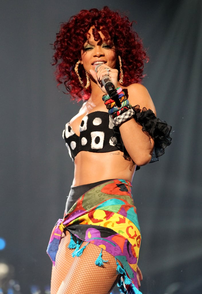 Rihanna's colourful tribal insired outfit packed a punch.