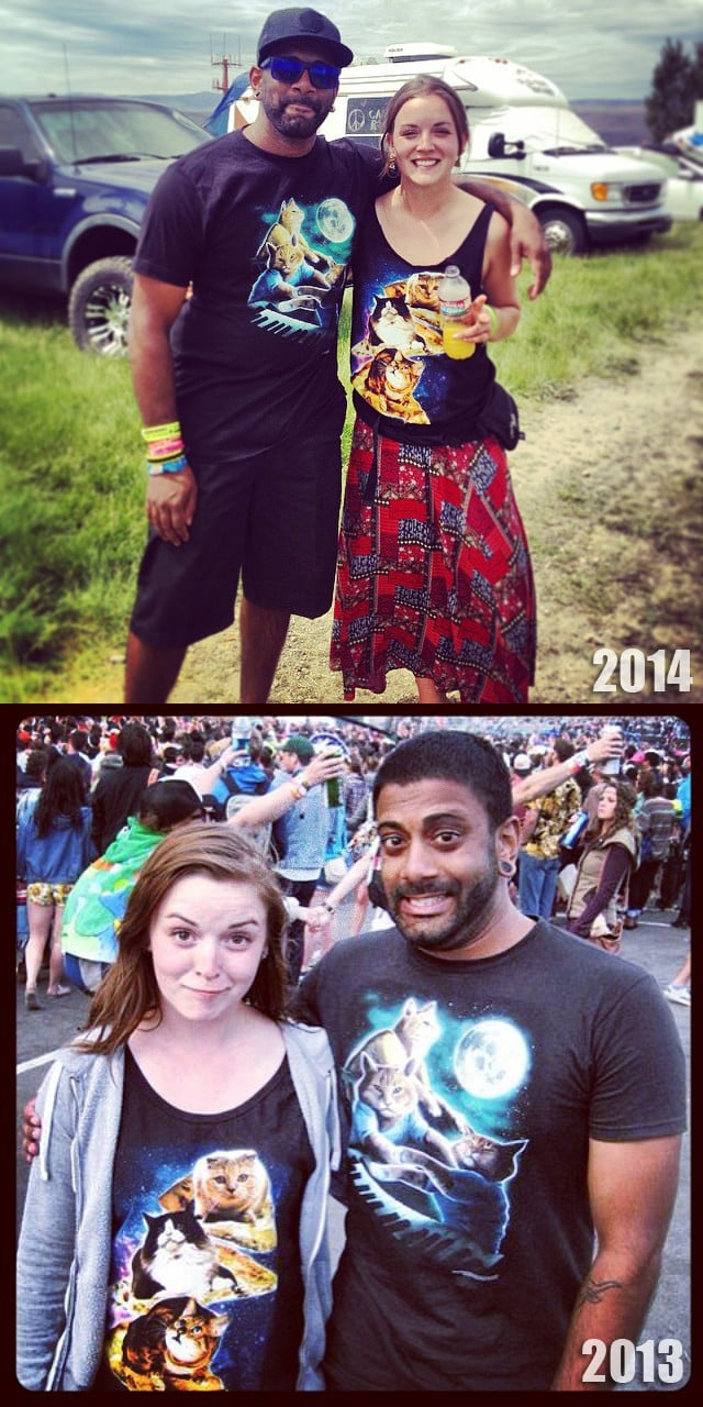 """""""I ran into this girl two years in a row, at Sasquatch, both times we were both wearing our triple cat shirts."""" Source: Imgur user CatMaster3000"""