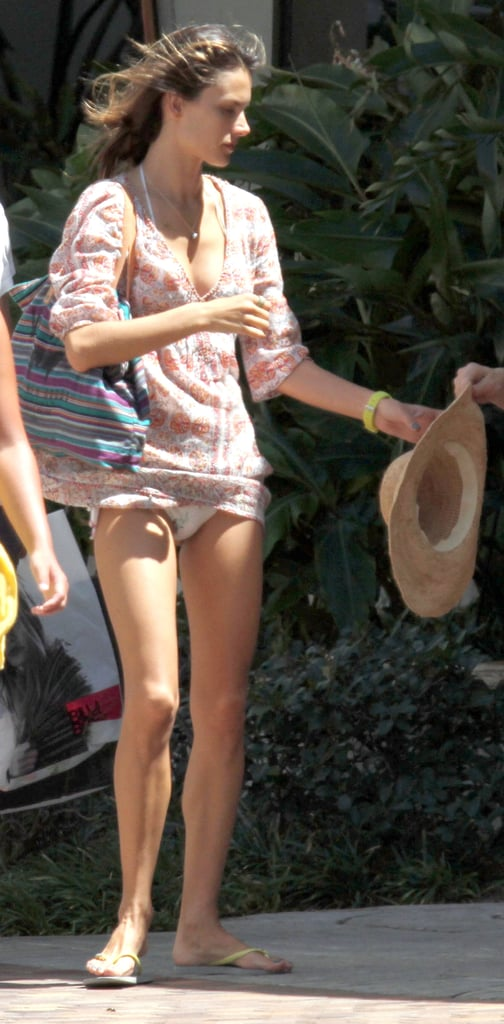 Alessandra Ambrosio wears a cover-up.