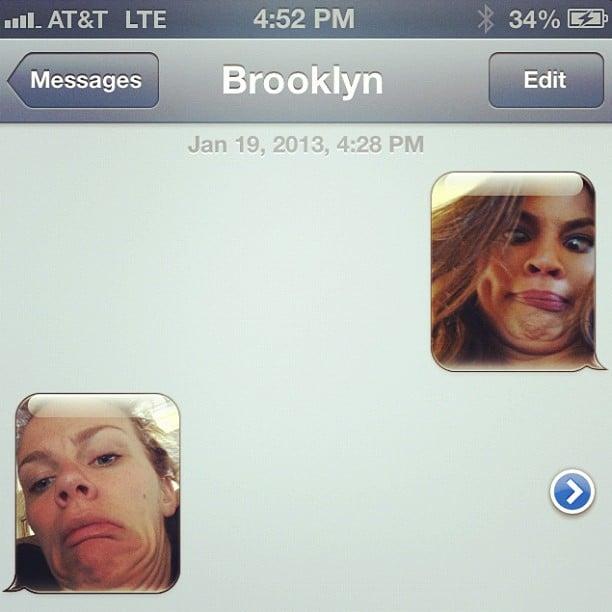 Chrissy Teigen and Brooklyn Decker texted each other silly photos. Source: Instagram user chrissy_teigen