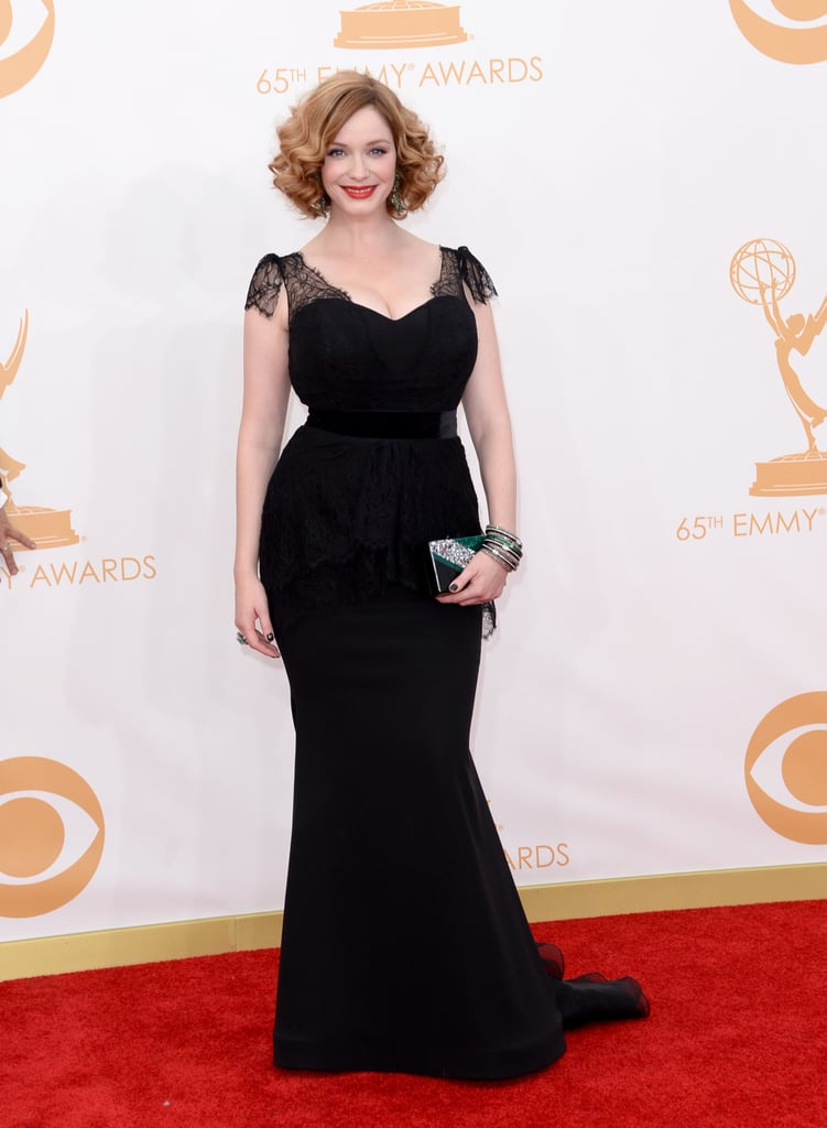 For the Emmys, Mad Men's Christina Hendricks turned to Christian Siriano to create her black gown — with lace detailing that hugged every curve of her signature figure. Art-deco-inspired jewels from Lorraine Schwartz and an Edie Parker clutch added colour to her black dress while accessorising her outfit with sparkle.