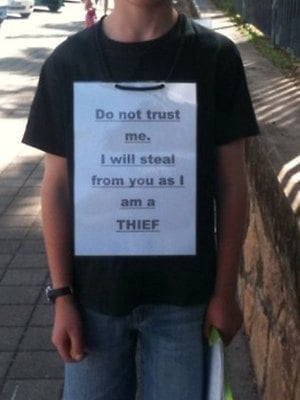 Mom Uses Public Humiliation to Teach Son Not to Steal