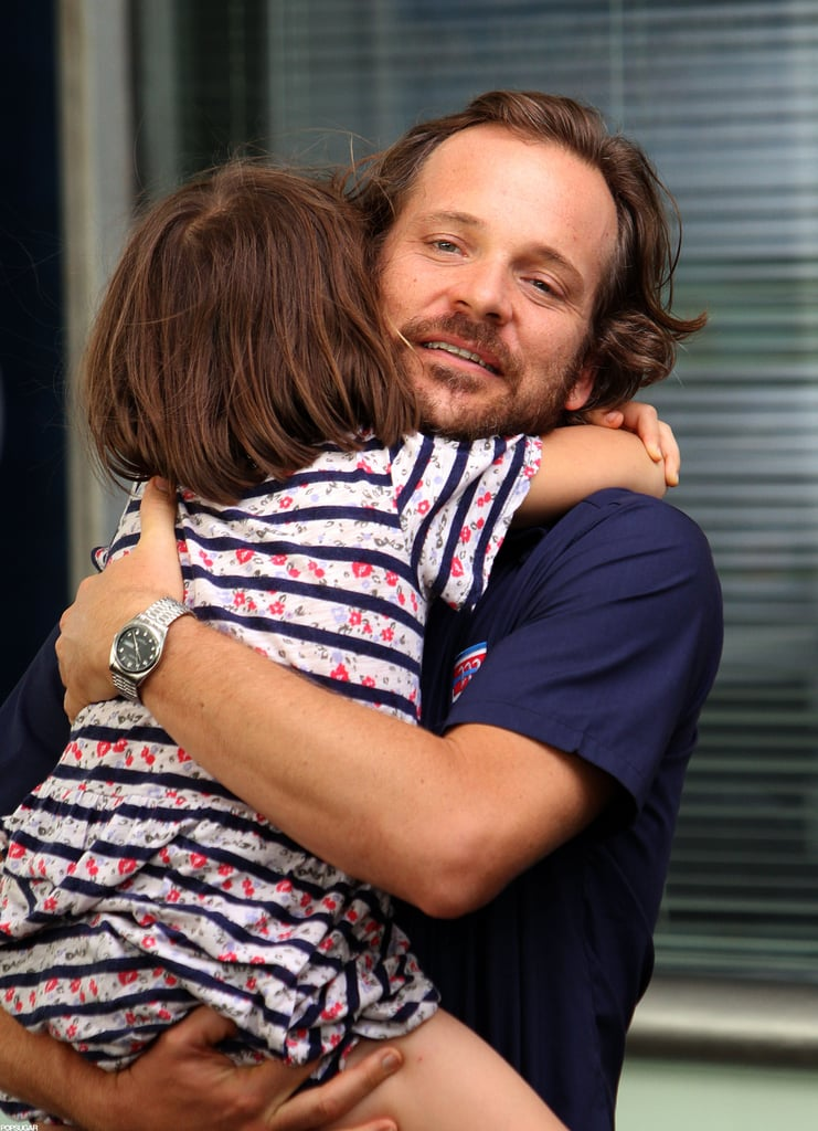 Ramona Sarsgaard wrapped her arms around dad Peter Sarsgaard on set in NYC.