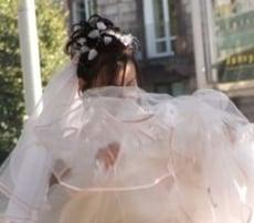 Wind Blows Up Wedding Skirt