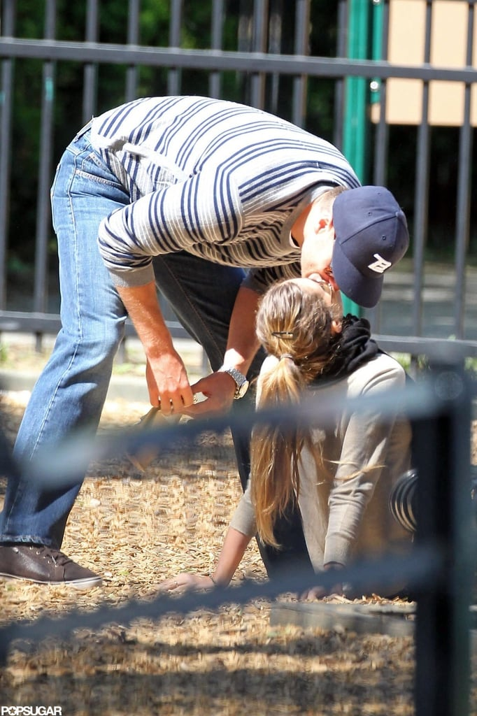 Tom Brady and Gisele Bündchen kissed in the sandbox at a Boston park in June.