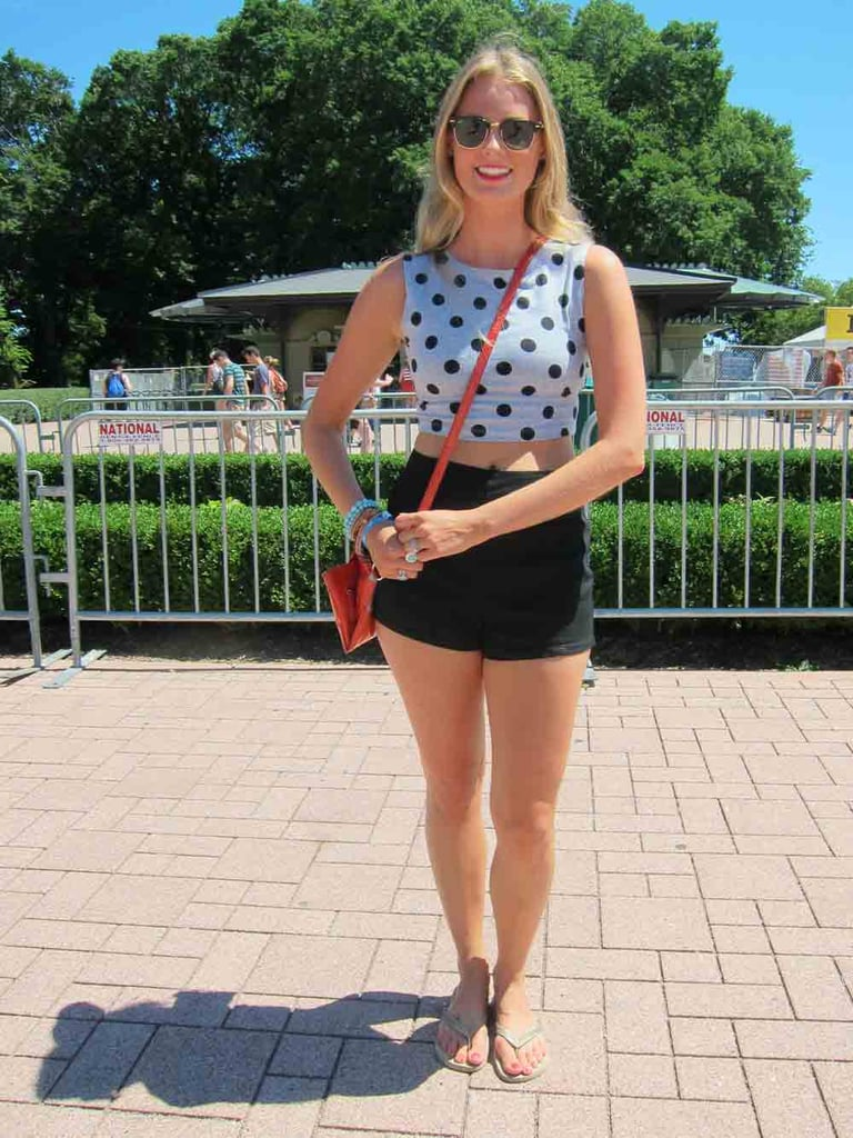 Bringing polka dots to Lollapalooza, Bethany's fitted crop top complemented her high-waisted black shorts. A Nine West crossbody and Ray-Ban Clubmaster sunglasses finished things off.