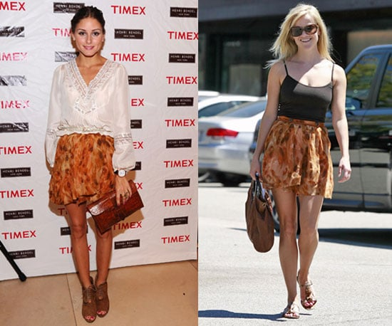 Olivia Palermo and Reese Witherspoon Wear the Same Marbled Mini Skirt