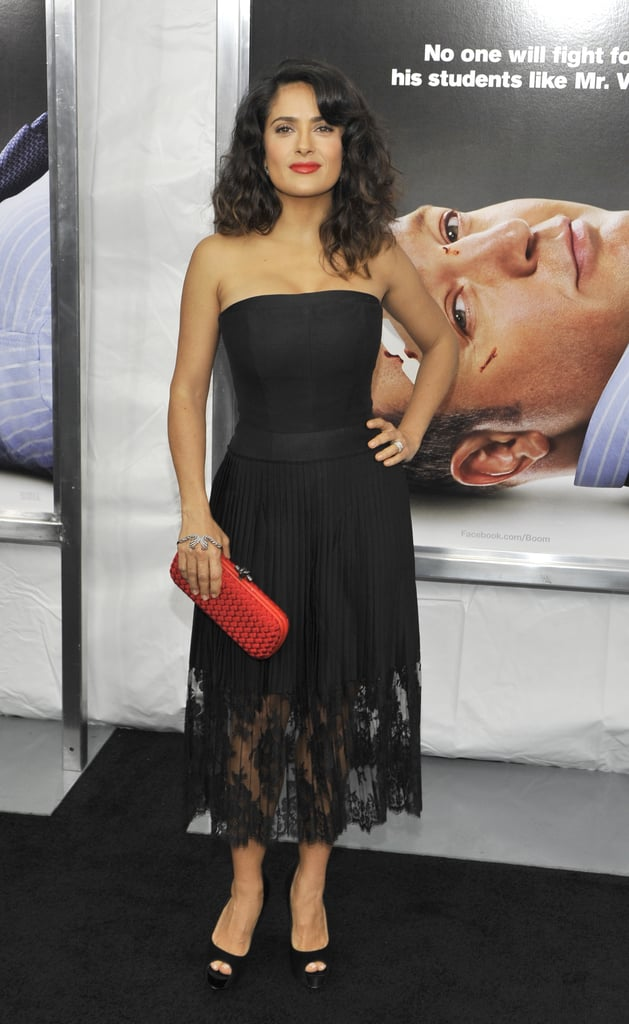 Salma Hayek posed at the premiere in NYC.