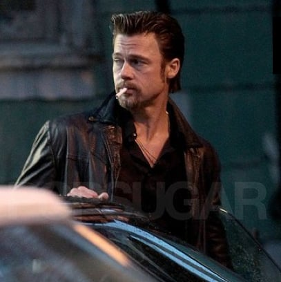 Pictures of Brad Pitt Smoking on the New Orleans Set of Cogan's Trade