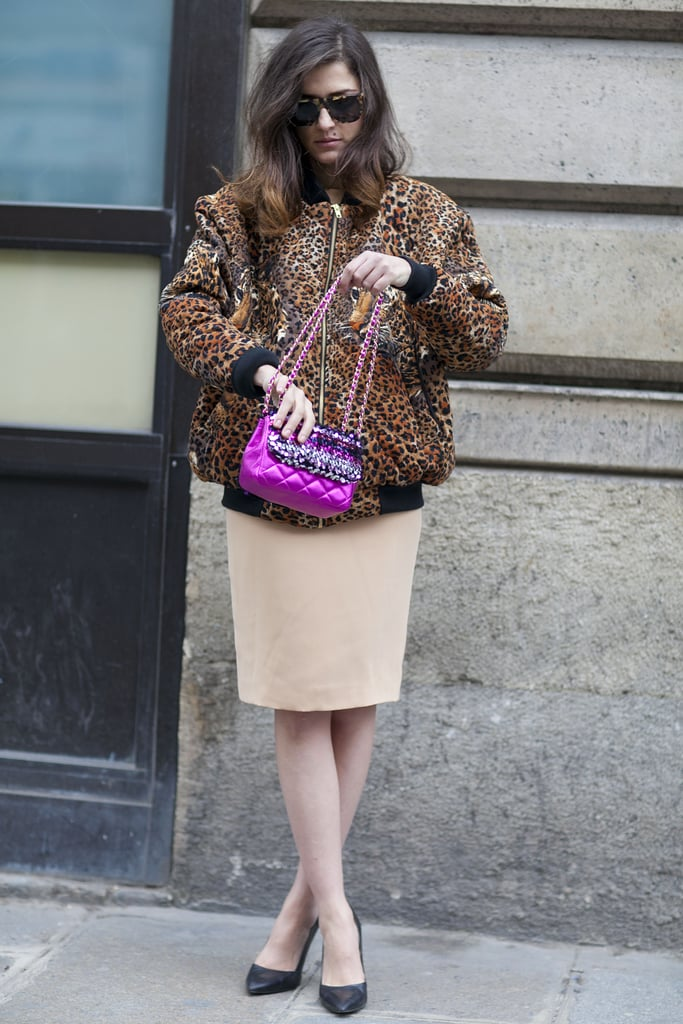 A leopard-print coat and a pretty jewel-toned bag adds interest and ladylike appeal.