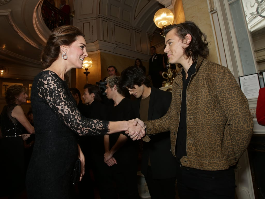 Harry Styles shook hands with Kate when they met at the Royal Variety Performance in November 2014.