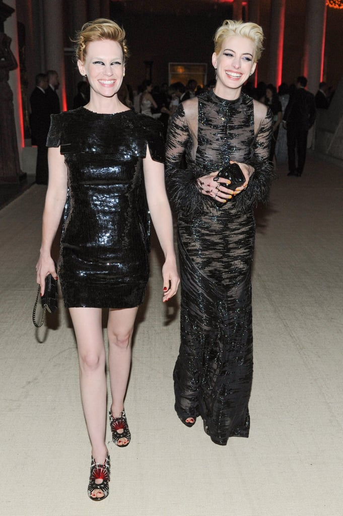 January Jones and Anne Hathaway gave the punkiest dinner entrance on Monday night at the Met Gala. Source: Billy Farrell/BFANYC.com
