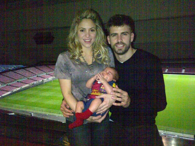 Shakira and Gerard Piqué became a family of three when they welcomed a son, Milan, in January.  Source: Twitter user 3gerardpique