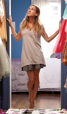 Carrie Bradshaw in Tank and Skirt in Her Closet in Sex and the City 2