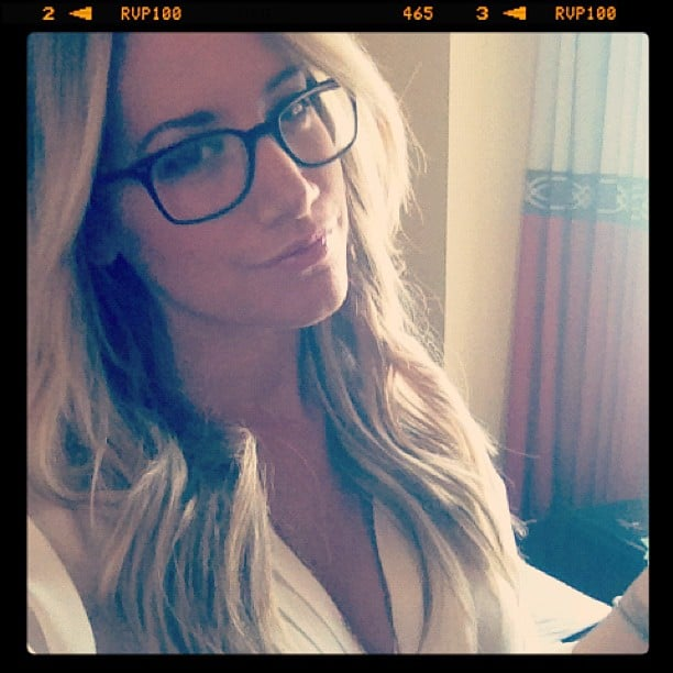 Ashley Tisdale showed off a new look in her chic glasses. Source: Instagram user ashleytis