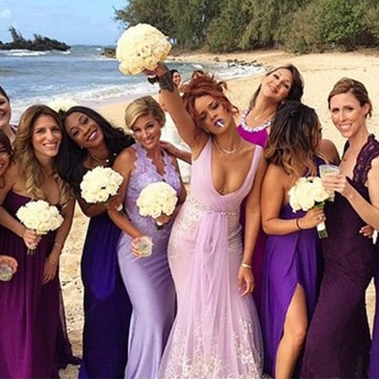 Rihanna's Purple Badgley Mischka Bridesmaid Dress