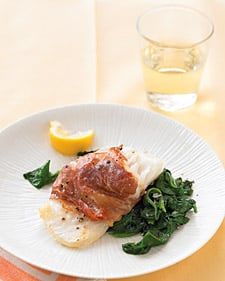 Fast & Easy Dinner: Prosciutto-Wrapped Cod With Spinach