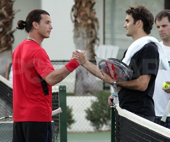 Slide Photo of Gavin Rossdale and Roger Federer Playing Tennis