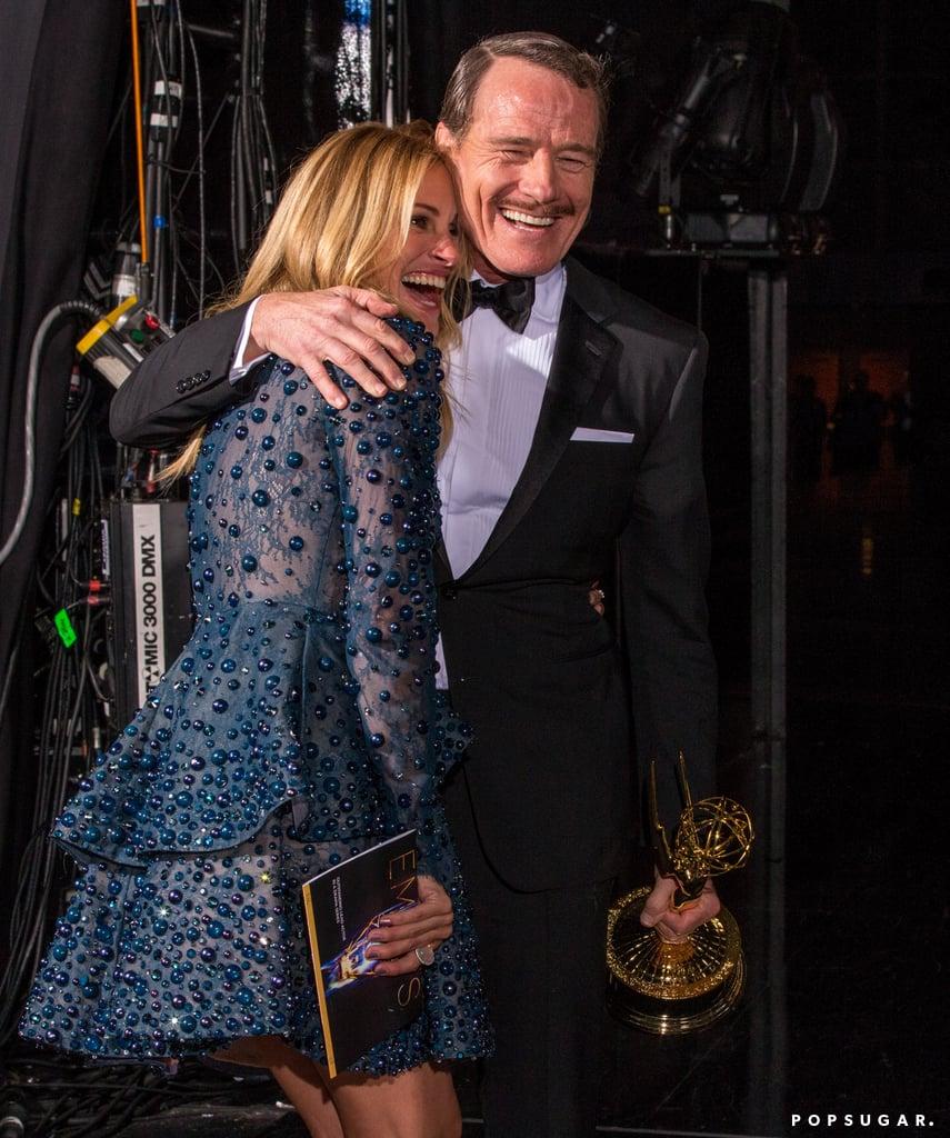 Julia Roberts congratulated Bryan Cranston backstage.