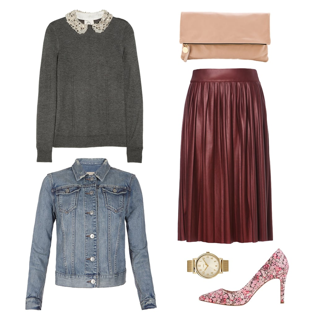 If you're hesitant about incorporating too much floral print into your look for Spring, then take it slowly — with a ladylike pair of pumps. On top, style a pleated leather-like skirt with a Peter Pan-collared knit and denim jacket. That way, no matter what kind of in-between climate the early Spring brings, you're prepared with the sweetest layers. Shop the look:   Milly Embellished-Collar Jersey Sweater ($395)  AllSaints Kita Denim Jacket ($158)  Zara Leather Effect Skirt in Maroon ($80)  Clare Vivier Fold-Over Clutch ($156)  Timex Easy Reader Mesh Bracelet Watch ($80)  J.Crew Everly Liberty Art Fabrics Pumps ($275)