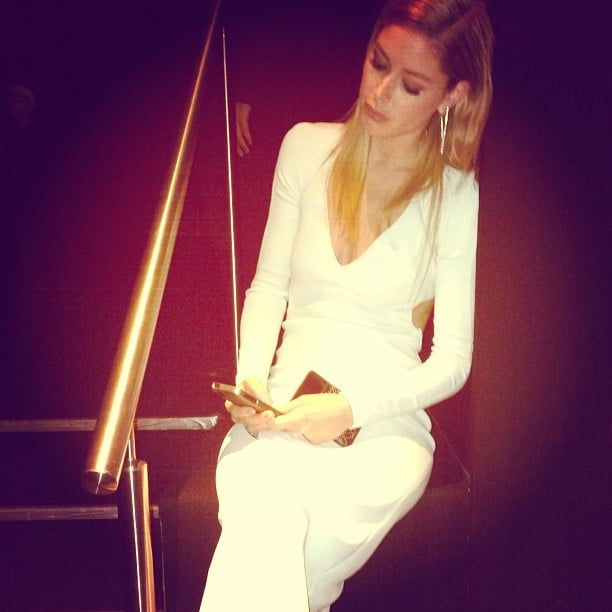 Even while attending a fancy event, Doutzen Kroes still made time to check her Instagram feed. Source: Instagram user doutzen