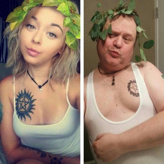 Dad Re-Creates Daughter's Selfies