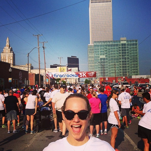 Model Amber Valletta started her Independence Day with a 5k run. Source: Instagram user ambervalletta