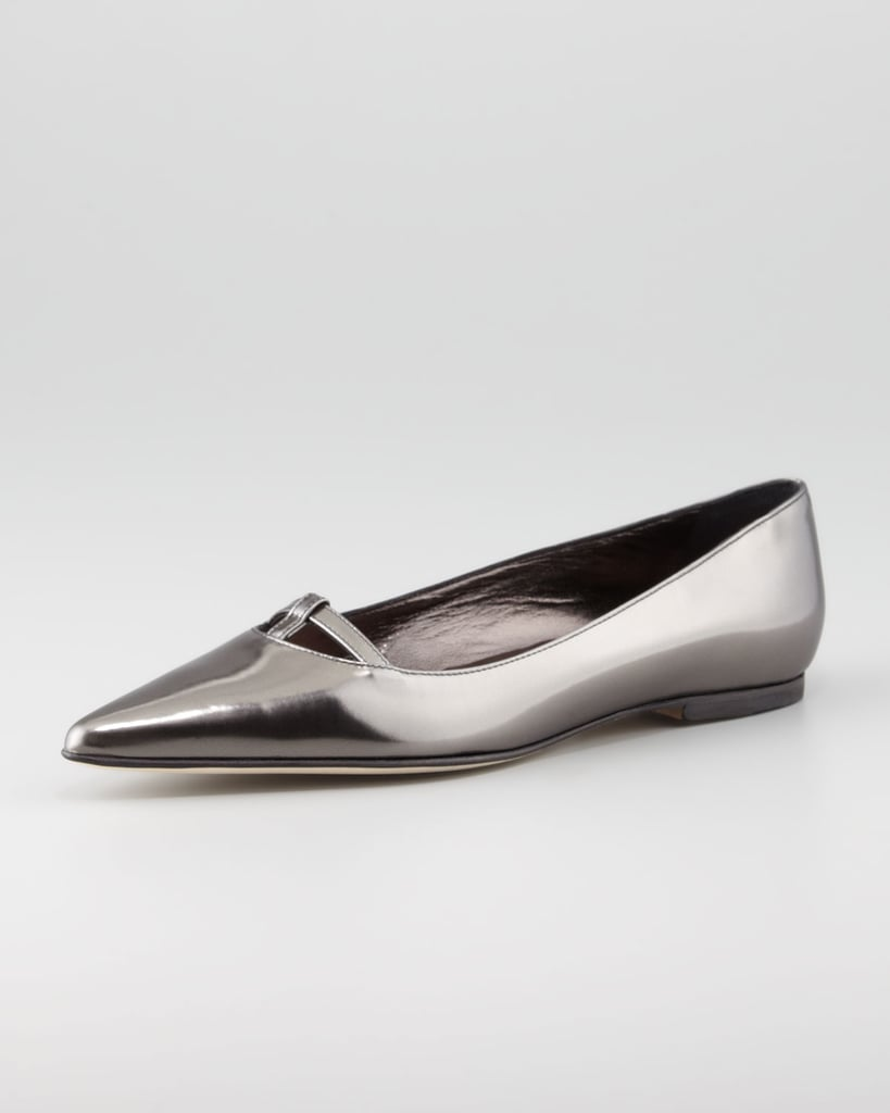 Metallic gunmetal is festive but not overly bold if you prefer something more demure. Slip on these Manolo Blahniks ($645) if you need a chic neutral.