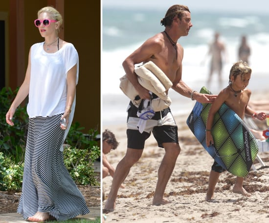 Shirtless Gavin Rossdale Hits the Beach With Gwen Stefani and the Boys