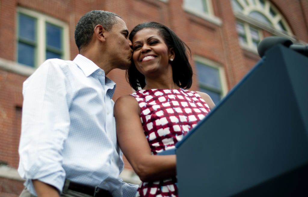Barack kissed Michelle on the cheek during an Iowa campaign event.