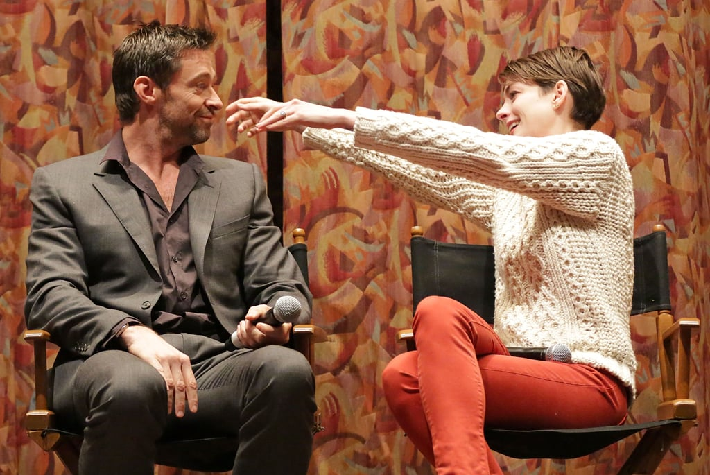 Anne Hathaway and Hugh Jackman joked around at a SAG screening for Les Misérables.