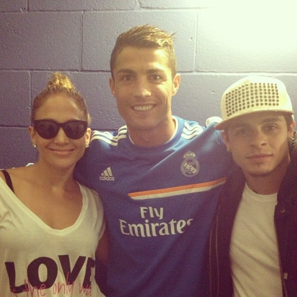 Jennifer Lopez and her boyfriend, Casper Smart, posed with soccer player Cristiano Ronaldo backstage at a Real Madrid game. Source: Instagram user cristiano