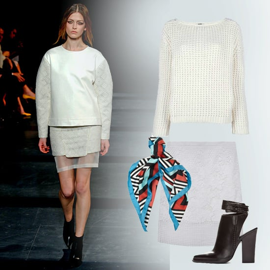 All white, all right! Copy this monochromatic look from Tibi's Fall show by pairing a chunky knit sweater with a sheer-panelled, slim-fitting pencil skirt. Add a pair of tough leather ankle boots, and temper the look with a silky printed scarf. Shop this look:  Acne Sapata Boxy Knit Sweater ($340) Tibi Basia Lace Pencil Skirt ($502) Alexander Wang Dasha Ankle Boots ($685) Diane von Furstenberg Printed Circle Scarf ($157)