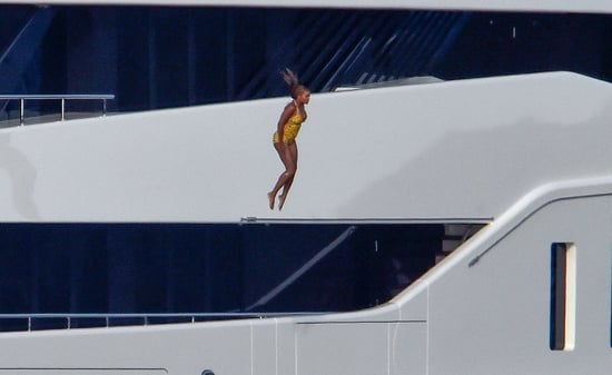 You Can Tell This Aint Beyoncé's First Yacht Jump