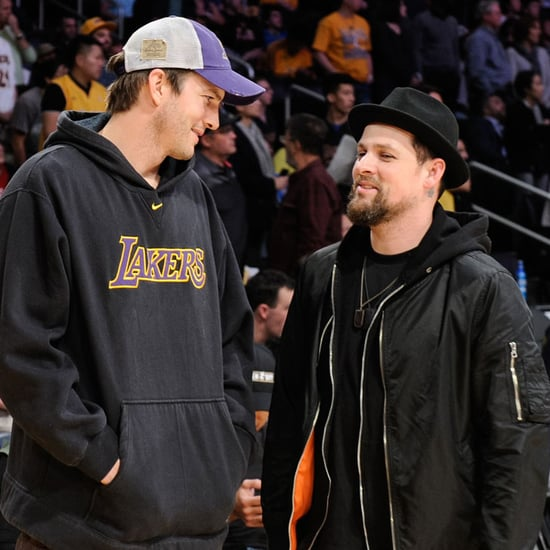 Ashton Kutcher and Joel Madden at Lakers Game March 2016