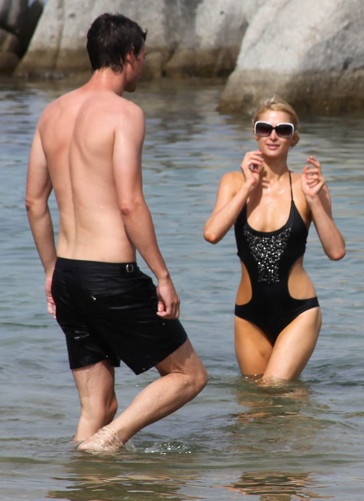 Paris Hilton and her new man cooled off in the water on an Italian island in August 2012.