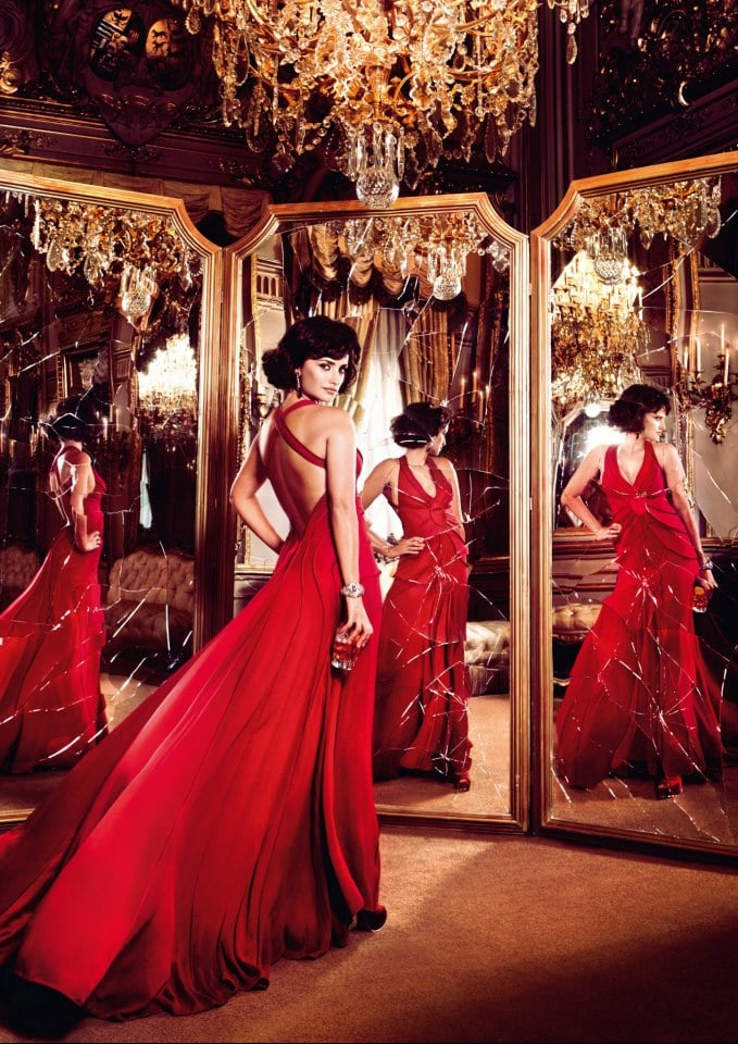 "Penélope Cruz acted out the ""broken mirror"" superstition for Campari's 2013 calendar."