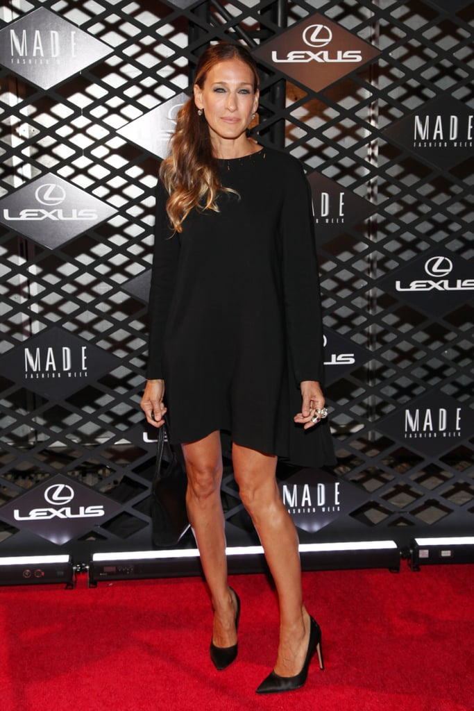 Sarah Jessica Parker wore a short black frock to the Lexus Design Disrupted event on Thursday night.