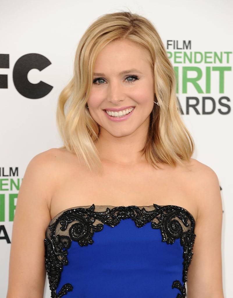 POPSUGAR: You have amazing skin. Walk us through your skin care routine.  Kristen Bell: It's a whole lifestyle routine. I eat very well. It's not that I don't cheat, but I assess my protein intake and make sure I have enough omega fatty acids to retain moisture. And I eat a lot of colorful fruits and vegetables. I drink a ton of water — usually lemon water. I feel better when my body gets more alkaline. As for skin products, I come from a less is more perspective. I really like the Neutrogena Naturals line because there's a minimal amount of ingredients. It's really pure and natural. I live by the Purifying Facial Cleanser ($6) — I use it every single night. I use it either with my fingertips or a little wooden natural bristle brush, and then I use the multivitamin nourishing moisturizer. And that's pretty much it.  PS: How has your beauty routine changed since becoming a mom?  KB: Since becoming a mom, I look a lot more at the ingredients. My skin is a huge, absorbing organ, and I pay attention to when I'm sitting in smog and make sure I'm drinking enough water. As far as beauty goes, I look at the ingredients of everything I put on my skin. I like to be able to pronounce everything. I do research on where it comes from, because as a mom, I don't really have a ton of time. So I want everything to be simple.  PS: You also have the It haircut right now: the lob (a long bob). Are you happy with your hair right now?  KB: I couldn't be happier with this cut. It was in response to having had a lot of dry ends after being pregnant. So, I needed a change and wanted to feel fresh, and I have never had an easier hairstyle, because it's supposed to look messy but it's not really long enough to get tangled. So I take a shower the night before, sleep on it, and just walk around with bedhead all day and feel great. Also, I used to have pin-straight hair before I was pregnant. I now have wavy hair.