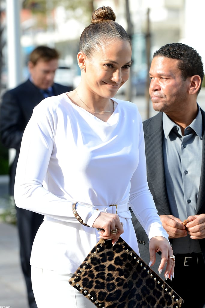 Jennifer Lopez smiled after having lunch with her manager, Benny Medina.