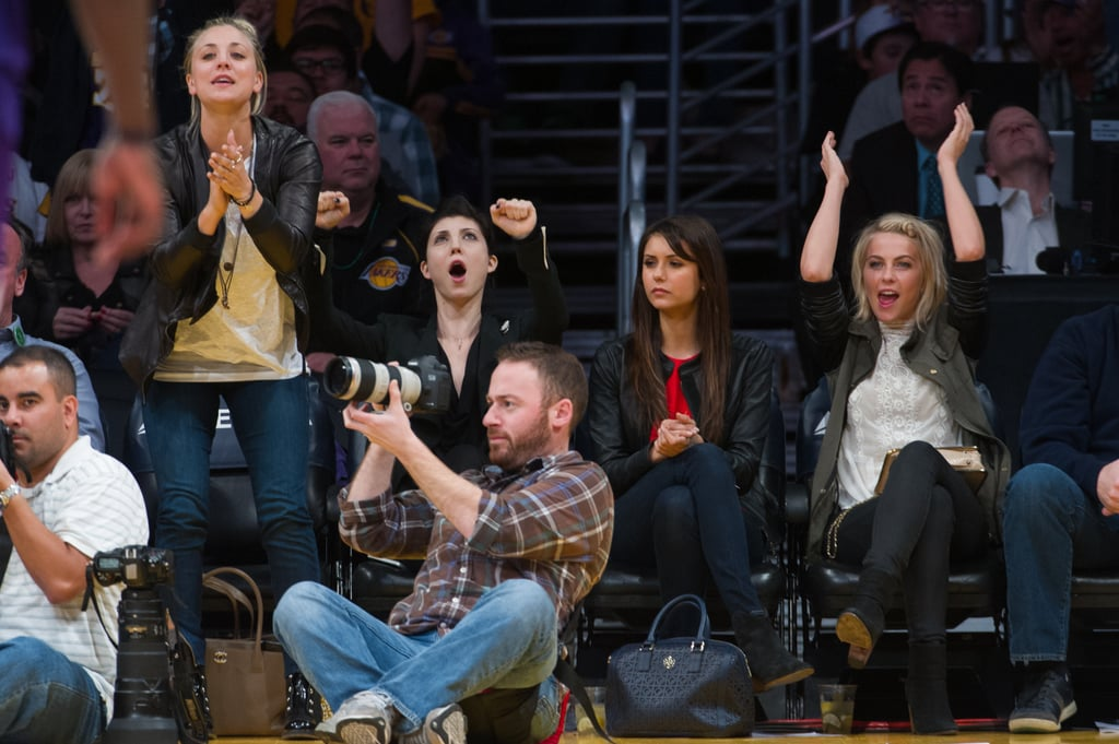 Kaley Cuoco cheered on the Lakers alongside Nina Dobrev and Julianne Hough.