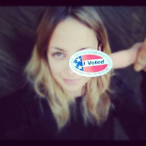 Nicole Richie had fun with her voting sticker after left the polls. Source: Instagram user nicolerichie