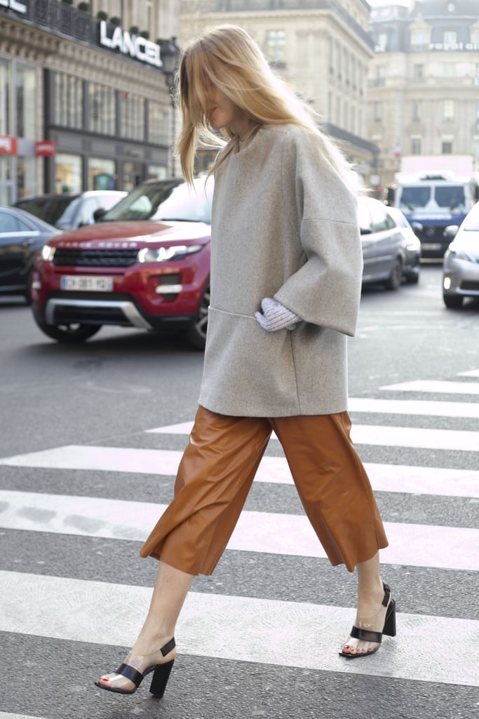 Buttery bermuda shorts and a boxy top made this look all about the proportional play.