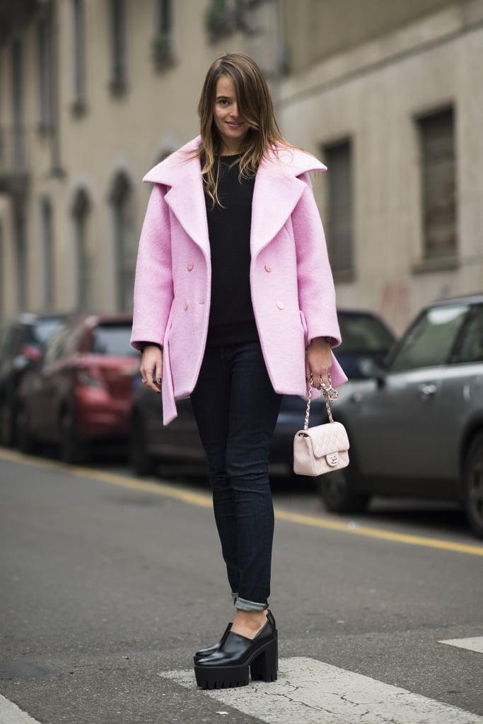 Dark denim and black platforms got a perky finish via her powder-pink coat.  Source: Le 21ème | Adam Katz Sinding