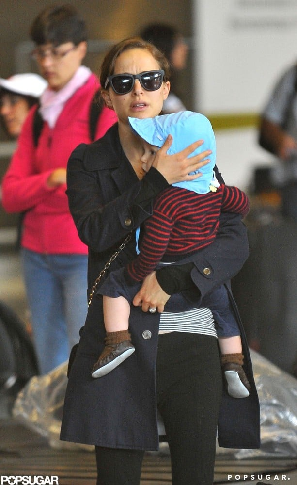 Natalie Portman held onto Aleph at the airport.