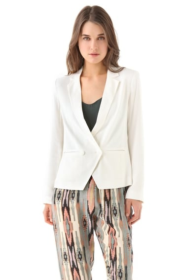 This white blazer will up the ante on our t-shirts and trouser combos all week long.  Madewell Tuxedo Blazer ($138)