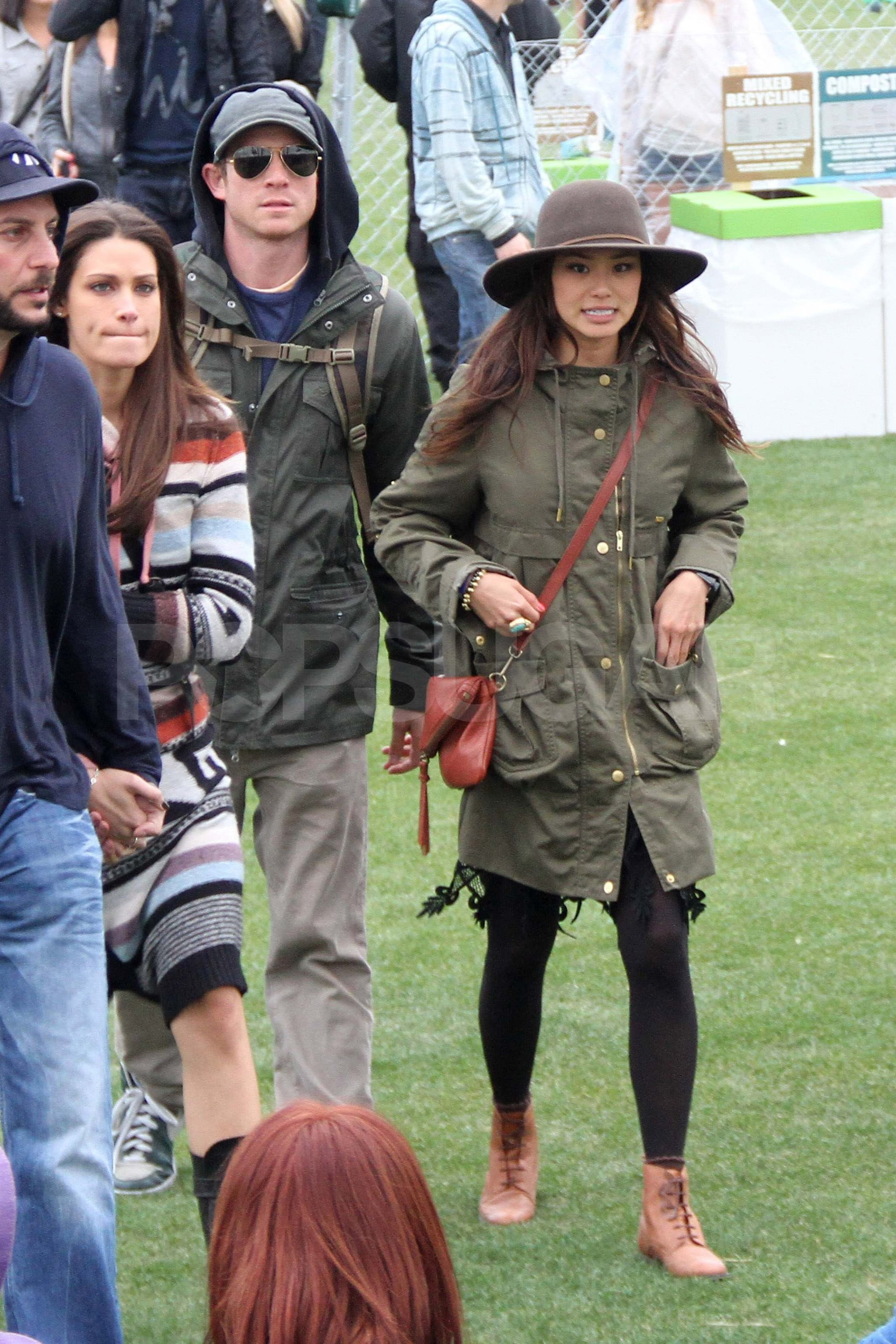 Bryan Greenberg and Jamie Chung braved the rain to see shows on Friday at Coachella.