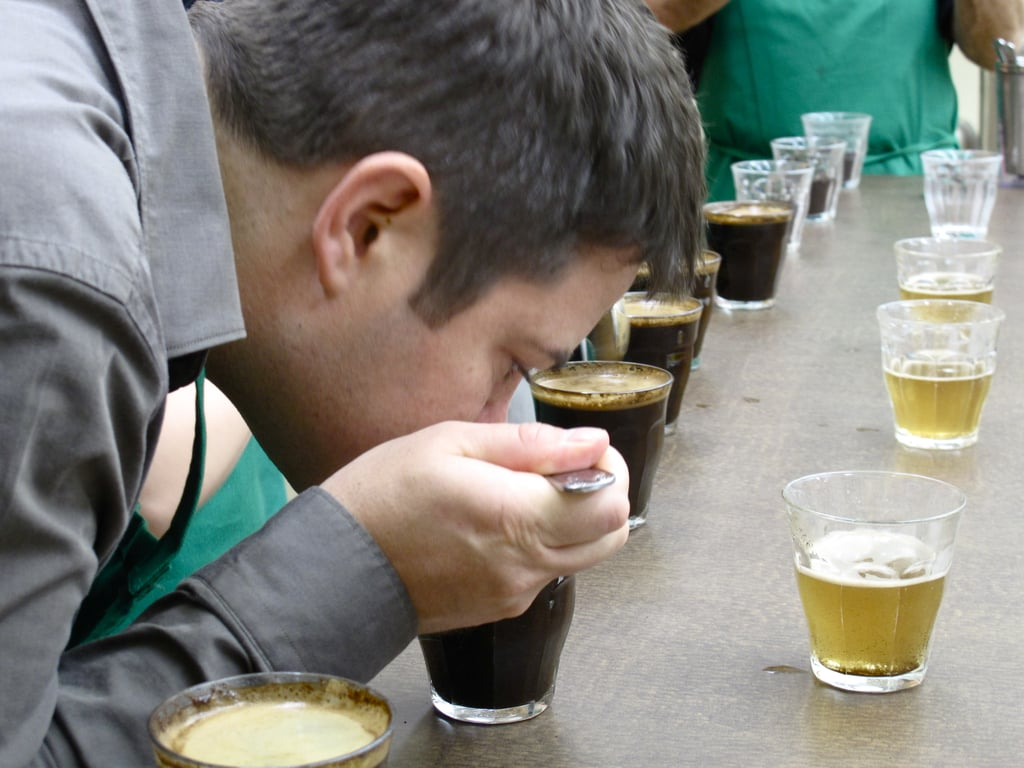 The method: Smell, slurp, spit; dip in water; repeat, all the way down the line.