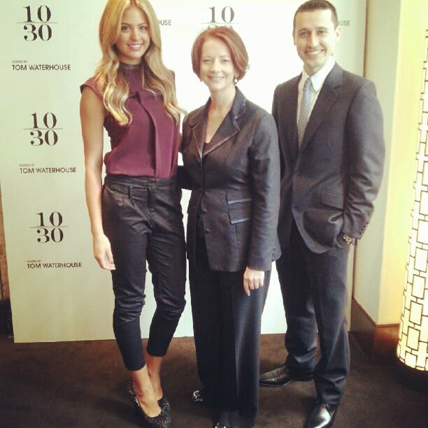 Jesinta Campbell talked shoes and technology with PM Julia Gillard at the Top 10 Under 30 lunch with Tom Waterhouse. Source: Instagram user waterhouse_tom