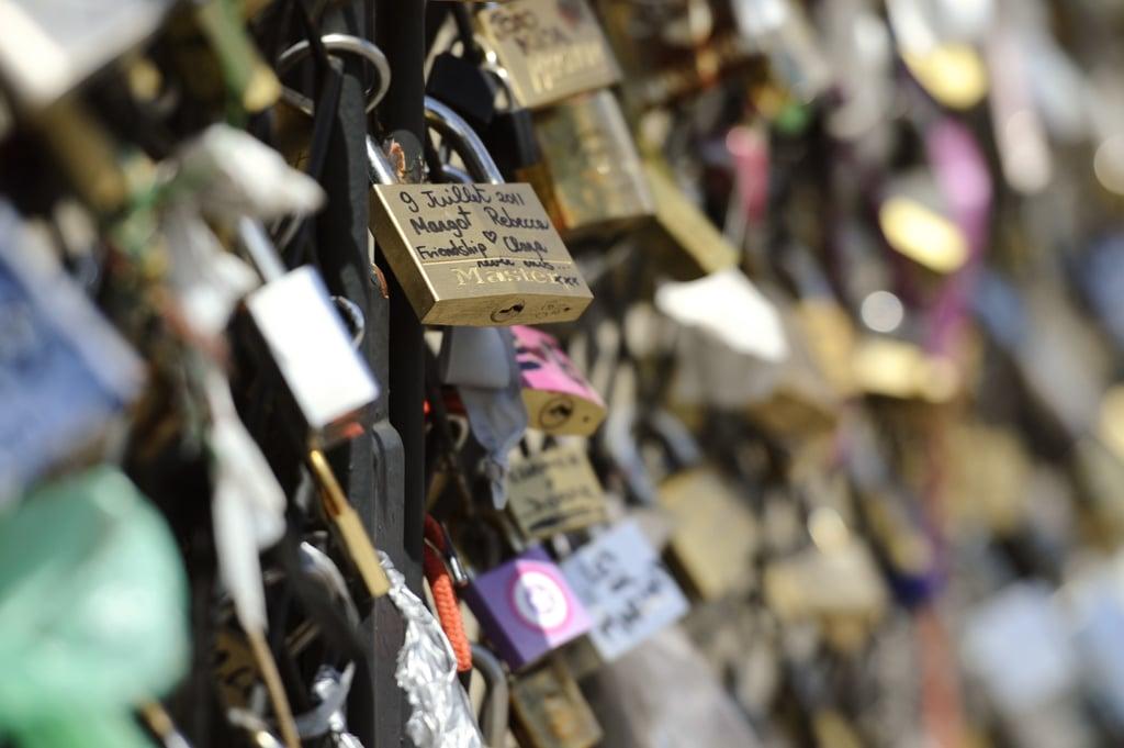 Love padlocks covered the Archeveche bridge in Paris.